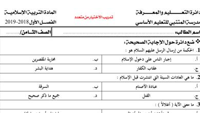 Photo of أوراق عمل تربية إسلامية صف ثامن فصل أول