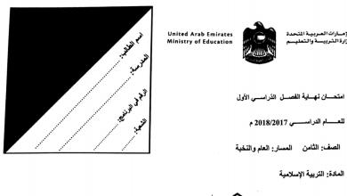 Photo of صف ثامن عام ونخبة تربية إسلامية امتحان نهاية الفصل الأول 2017