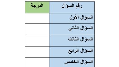 Photo of اختبار أول لغة عربية صف ثالث فصل أول