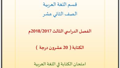 Photo of امتحان كتابة 2018 لغة عربية صف ثاني عشر فصل ثالث