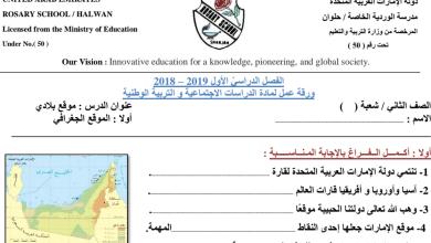 Photo of ورقة عمل موقع بلادي دراسات اجتماعية صف ثاني فصل أول