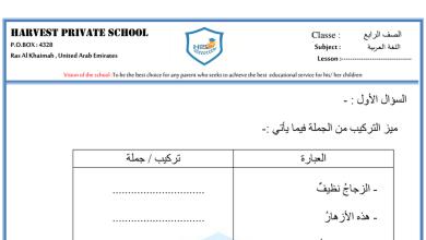 Photo of ورقة عمل الجملة و التركيب لغة عربية صف رابع الفصل الاول