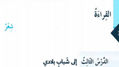 Photo of حل درس إلى شباب بلادي لغة عربية صف ثامن فصل أول
