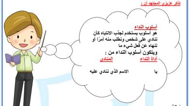 Photo of أسلوب النداء لغة عربية صف ثالث فصل أول