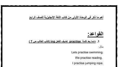 Photo of قواعد الوحدة الاولى لغة إنجليزية صف رابع فصل أول