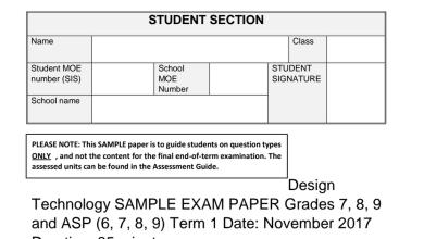 Photo of نموذج امتحان تصميم وتكنولوجيا للصفوف 7-8-9 فصل أول