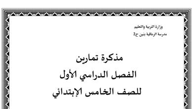 Photo of مذكرة تمارين الوحدة الثانية تربية إسلامية فصل أول صف خامس