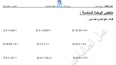 Photo of ملخص الوحدة السادسة رياضيات صف خامس