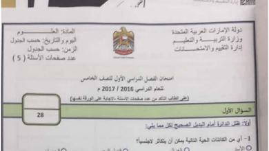 Photo of امتحان علوم الفصل الأول للصف الخامس