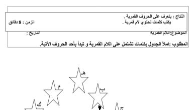 Photo of ورقة عمل اللام القمرية لغة عربية فصل أول صف ثاني