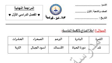 Photo of مراجعة نهائية لامتحان الفصل الأول في مادة العلوم للصف الأول