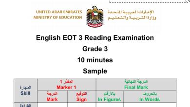 Photo of نموذج امتحان القراءة لغة انجليزية الصف الرابع الفصل الثالث