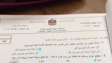 Photo of امتحان نهاية الفصل الثالث لعام 2018 علوم صف خامس