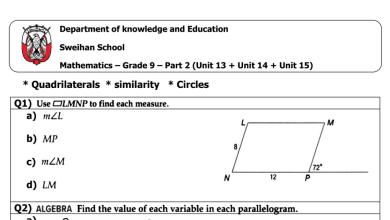Photo of اسئلة وتدريبات 2 رياضيات فصل ثالث صف تاسع باللغة الإنكليزية