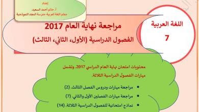 Photo of مراجعة الفصول الدراسية الثلاث لغة عربية صف سابع 2017