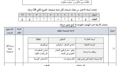 Photo of اجابة الاختبار التجريبي أحياء فصل أول للصف الثاني عشر متقدم