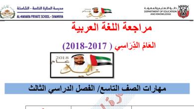 Photo of مراجعة لغة عربية الفصل الثالث الصف التاسع