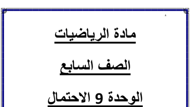 Photo of الوحدة 9 الاحتمال رياضيات  الفصل الثالث الصف السابع