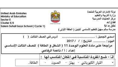Photo of مراجعة وحدة 11 الشغل والطاقة علوم صف ثالث فصل ثالث