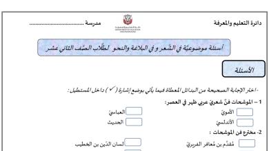 Photo of أسئلة موضوعية في الشعر والبلاغة والنحو (اختيار من متعدد) لغة عربية للصف الثاني عشر