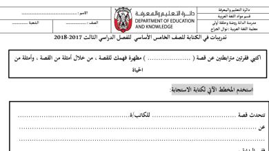 Photo of تدريبات اختبار الكتابة اللغة العربية الصف الخامس الاساسي الفصل الدراسي الثالث 2017-2018