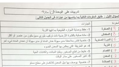 Photo of تدريبات الوحدة التاسعة مع الحل علوم صف خامس فصل ثالث