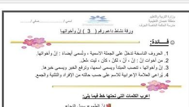 Photo of ورقة عمل إن وأخواتها لغة عربية صف خامس