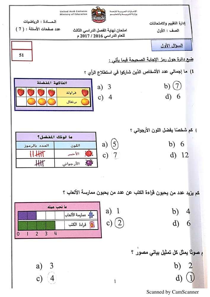 امتحان وزاري رياضيات الصف الاول الفصل الثالث 2017-2018