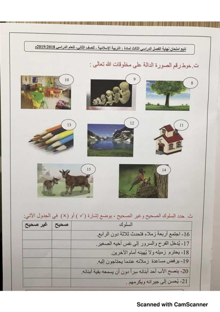 امتحان إسلامية صف ثاني الفصل الثالث