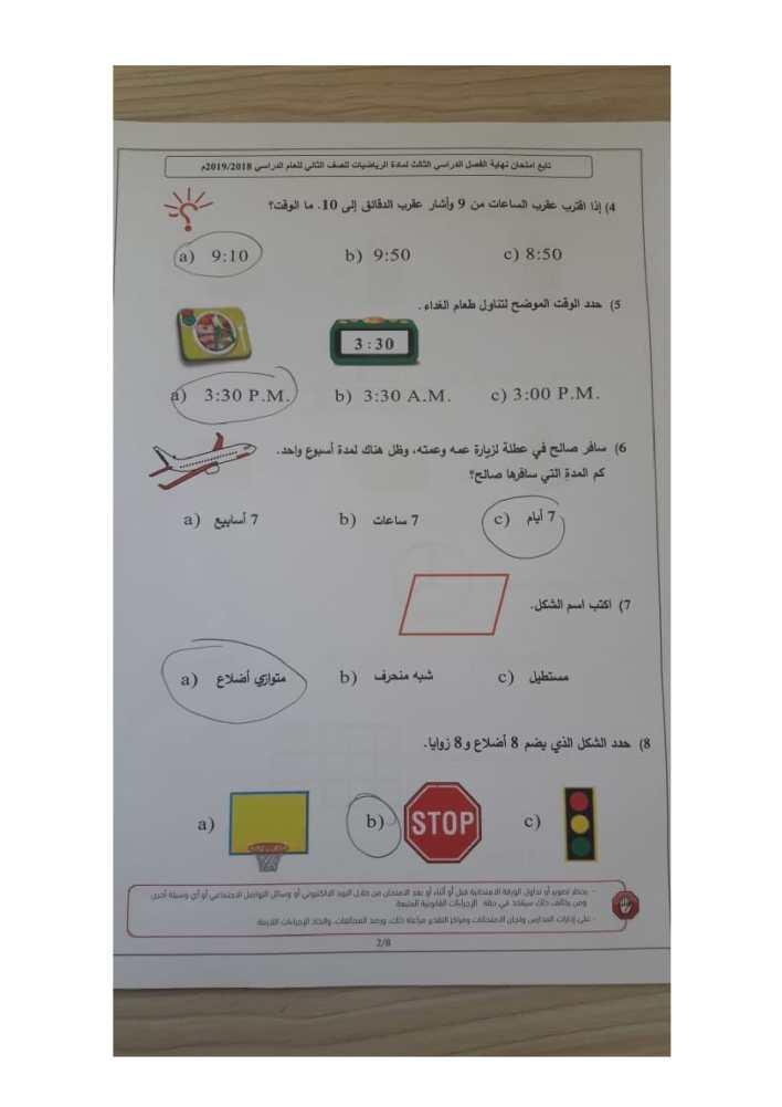 امتحان رياضيات الفصل الثالث 2018 – 2019