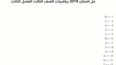 Photo of حل امتحان 2019 رياضيات الصف الثالث الفصل الثالث