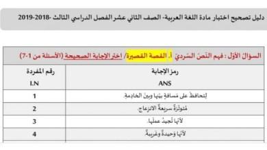 Photo of دليل تصحيح لغة عربية 2019 ثاني عشر الفصل الثالث