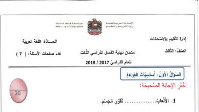 Photo of امتحان نهاية الفصل الثالث 2017 – 2018 لغة عربية صف ثالث