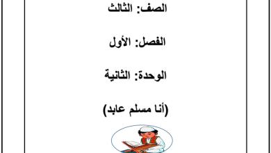 Photo of أوراق عمل الوحدة الثانية أنا مسلم عابد تربية إسلامية صف ثالث فصل أول