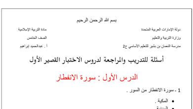 Photo of اسئلة تدريبية لاختبار التقويم الأول تربية إسلامية صف خامس فصل أول