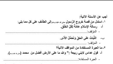 Photo of ورقة عمل ثانية دعوة أهل الطائف تربية إسلامية صف خامس فصل أول