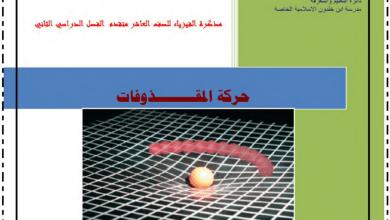 Photo of مذكرة حركة المقذوفات فيزياء صف عاشر متقدم فصل ثاني