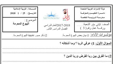 Photo of ورقة عمل درس البيوع المحرمة تربية إسلامية الصف الثاني عشر الفصل الثاني