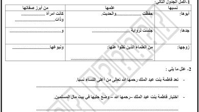 Photo of ورقة عمل درس فاطمة بنت عبد الملك تربية اسلامية الصف الخامس الفصل الثاني