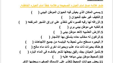 Photo of ورق عمل درس الموطن البيئي – الطقس علوم صف أول فصل ثاني