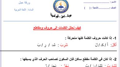 Photo of ورق عمل تحليل الكلمات إلى حروف ومقاطع لغة عربية صف أول