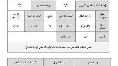 Photo of امتحان تكويني تربية إسلامية 2020 صف ثالث فصل ثاني