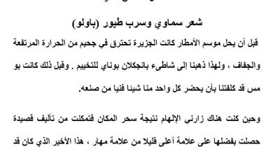 Photo of تلخيص الفصل السادس عشر شعر سماوي وسرب طيور (باولو) |عساكر قوس قزح