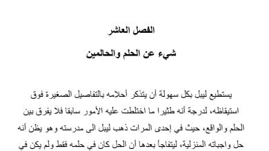 Photo of تلخيص درس شيء عن الحلم والحالمين رواية احلام ليبل السعيدة