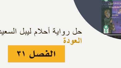 حل الفصل الحادي والثلاثون العودة احلام ليبل السعيدة