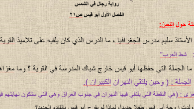 حل الفصل الاول أبو قيس رواية رجال في الشمس