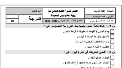 Photo of أوراق عمل الفصل الثاني من رواية أحلام ليبل السعيدة لغة عربية صف سادس