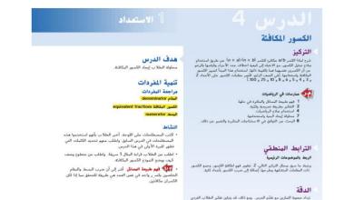 Photo of حل درس الكسور المكافئة رياضيات صف رابع فصل ثاني