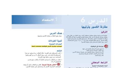 Photo of حل درس مقارنة الكسور وترتيبها رياضيات صف رابع فصل ثاني