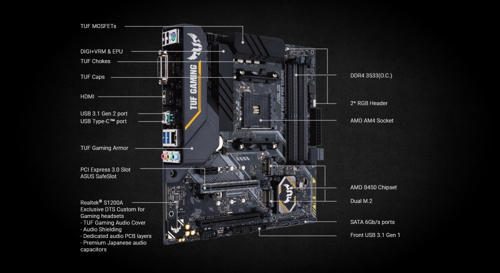 medium resolution of  asus tuf b450m pro gaming am4 amd b450 micro atx motherboard 90mb10a0 m0eay0